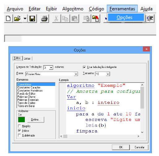 menu ferramentas visualg