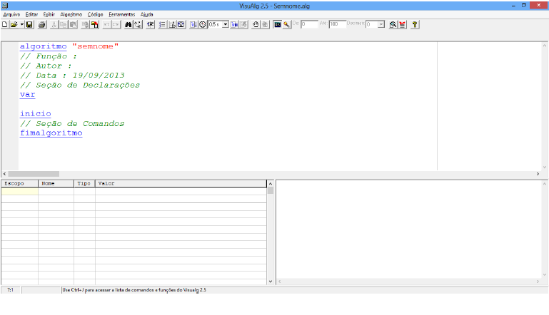 tela inicial do programa